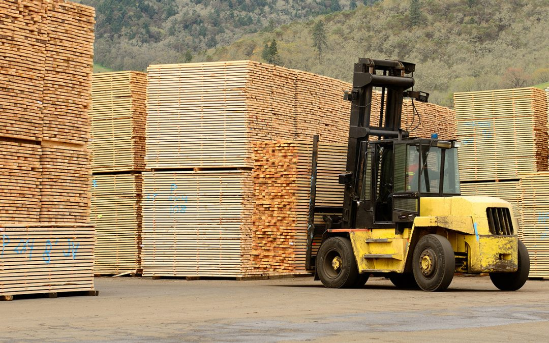 forklift in a lumber yard